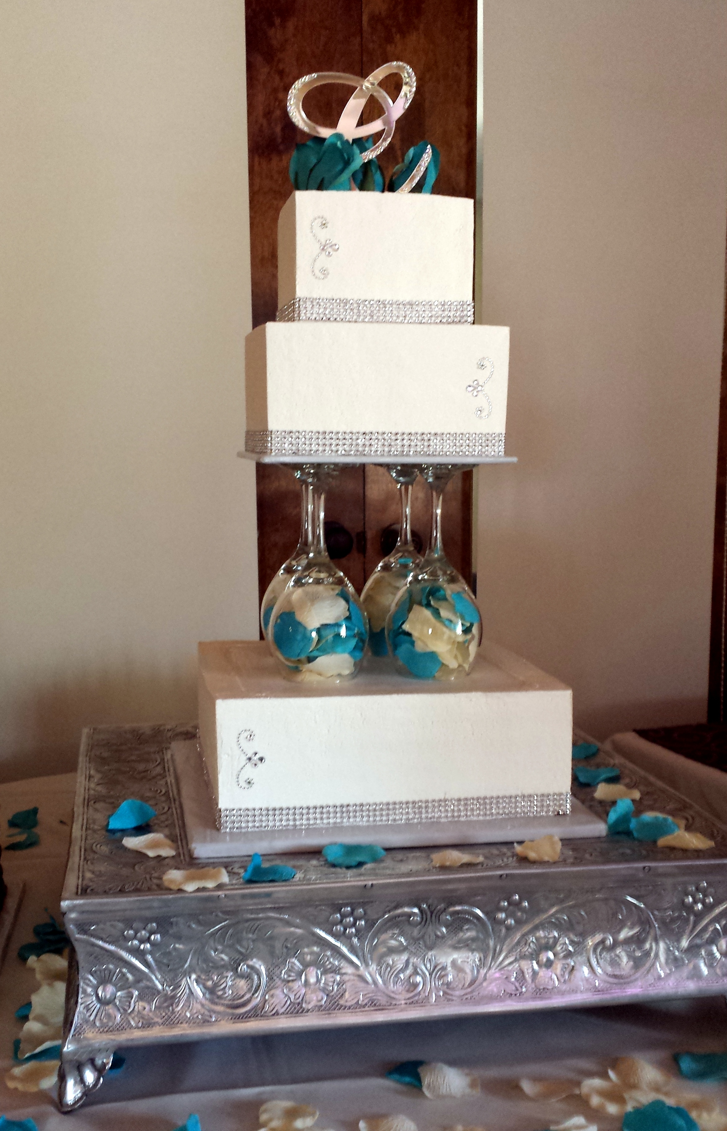 Wine Glass Wedding Cake With Bling